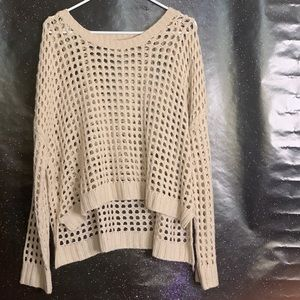Lani-Acrylic Sheer Beige Sweater Large
